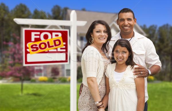 Zdjęcia stock: Hiszpańskie · rodziny · nowy · dom · podpisania · matka · ojciec