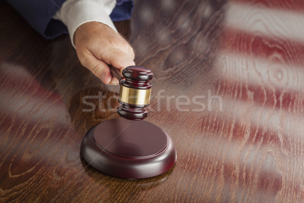 Judge Slams Gavel and American Flag Table Reflection Stock photo © feverpitch