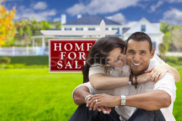Hispanic Couple, New Home and For Sale Real Estate Sign Stock photo © feverpitch