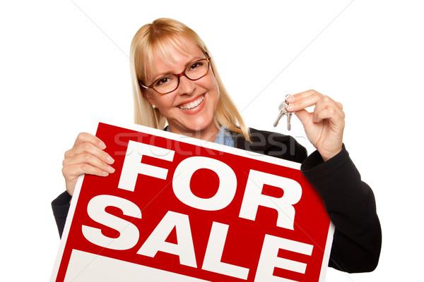 Vonzó szőke nő tart kulcsok vásár felirat Stock fotó © feverpitch