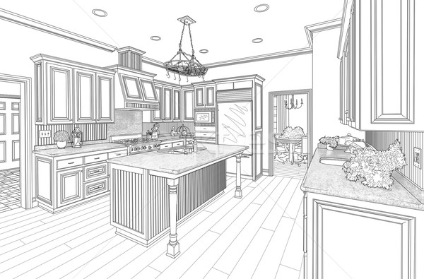 Stockfoto: Zwarte · gewoonte · keuken · ontwerp · tekening · witte