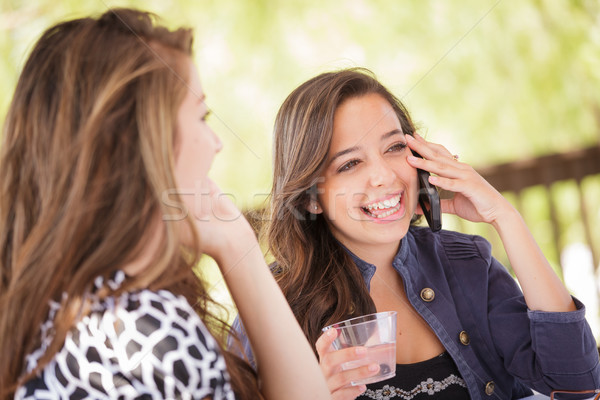 Expressive Young Adult Girlfriends Using Their Smart Cell Phone  Stock photo © feverpitch