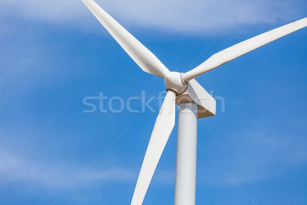 ветровой турбины драматический Blue Sky пейзаж технологий области Сток-фото © feverpitch