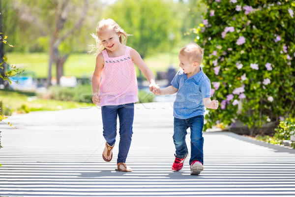Young Sister and Brother Holding Hands And Running At The Park Stock photo © feverpitch