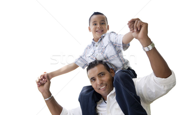 Hispanic Father and Son Having Fun Isolated on White Stock photo © feverpitch