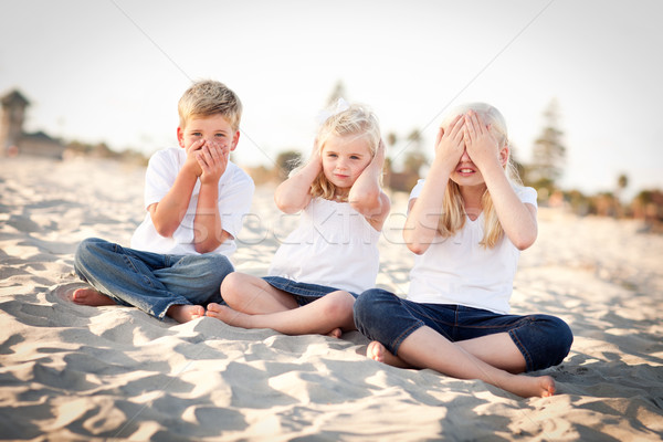 See, Hear and Speak No Evil Children Outside Stock photo © feverpitch