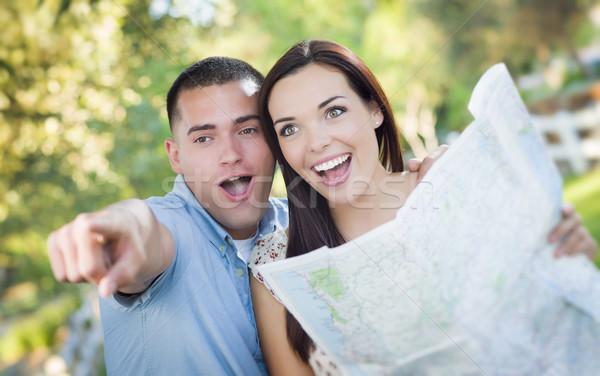 混血 カップル 見える 地図 外 一緒に ストックフォト © feverpitch