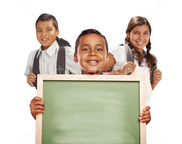 Hispanic Boys and Girl on White Holding Blank Chalk Board Stock photo © feverpitch