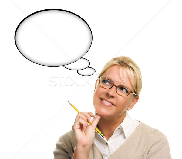 Stock photo: Beautiful Woman and Blank Thought Bubbles with Clipping Path