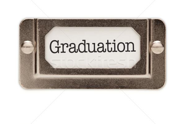 ストックフォト: 卒業 · ファイル · ラベル · 孤立した · 白