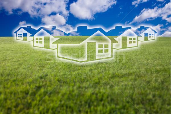 álomszerű házak ikon fűmező égbolt üres Stock fotó © feverpitch
