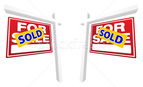 Pair of Red For Sale Real Estate Signs Stock photo © feverpitch