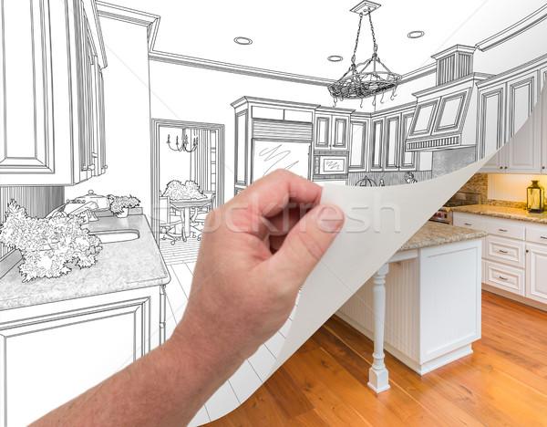 Kéz oldal vám konyha rajz fénykép Stock fotó © feverpitch