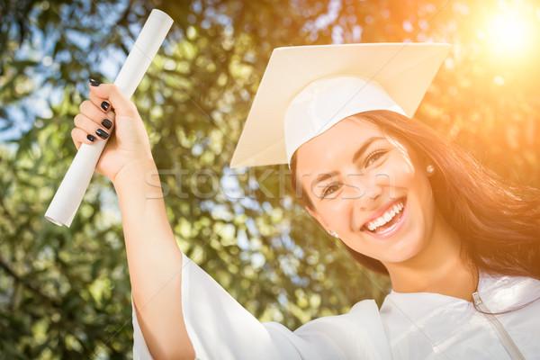 Stockfoto: Halfbloed · meisje · cap · toga · diploma · aantrekkelijk