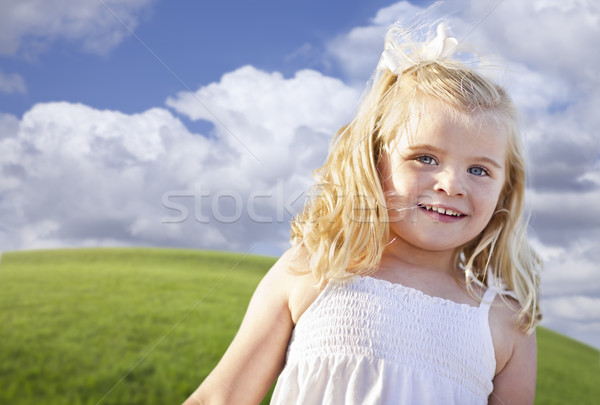 Adorable Blue Eyed Girl Playing Outside Stock photo © feverpitch