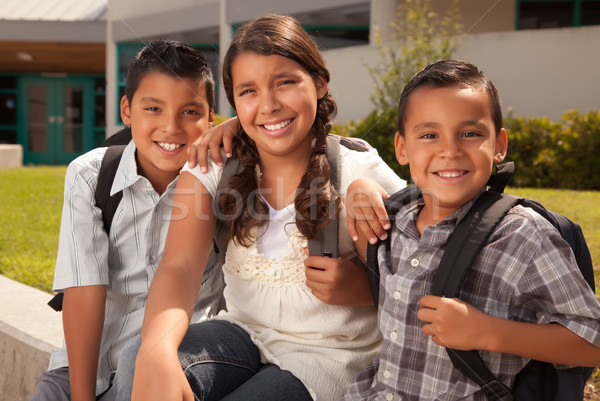 Cute hermanos hermana listo escuela Foto stock © feverpitch