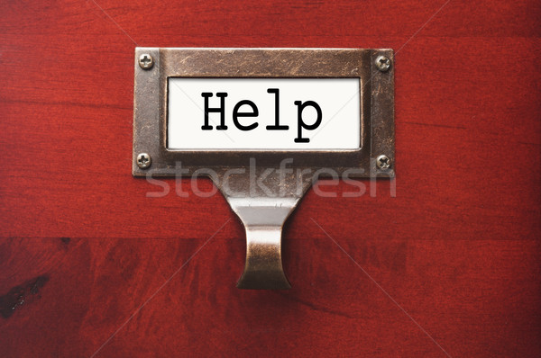 Lustrous Wooden Cabinet with Help File Label Stock photo © feverpitch
