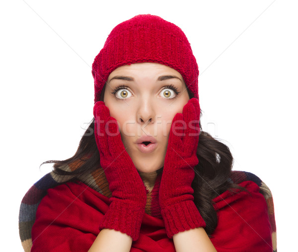 Stunned Mixed Race Woman Wearing Winter Hat and Gloves Stock photo © feverpitch
