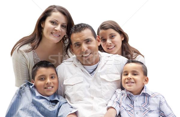 Boldog vonzó spanyol családi portré fehér izolált Stock fotó © feverpitch