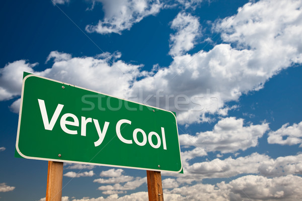 Very Cool Green Road Sign with Sky Stock photo © feverpitch
