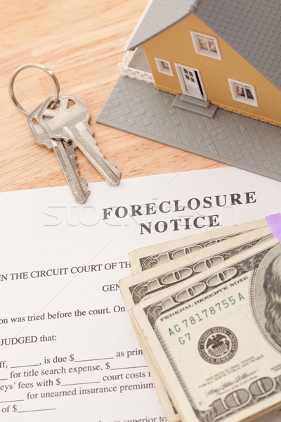 Foreclosure Notice, Home, House Keys and Stack of Money Stock photo © feverpitch