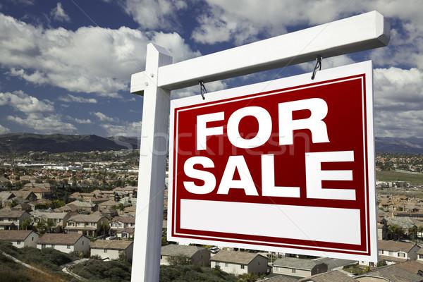 Vásár ingatlan felirat lakásügy közösség kilátás Stock fotó © feverpitch