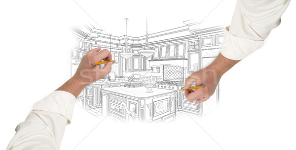 Two Male Hands Sketching Beautiful Custom Kitchen Stock photo © feverpitch