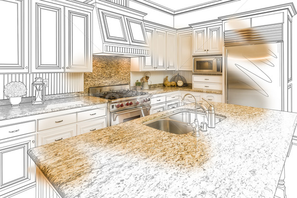 Custom Kitchen Design Drawing and Brushed Photo Combination Stock photo © feverpitch
