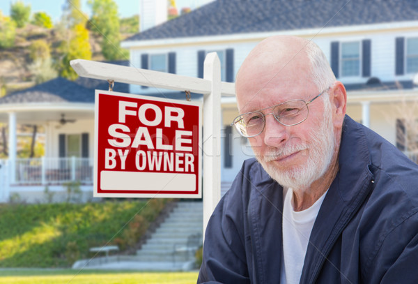 Senior Adult Man in Front of Real Estate Sign, House Stock photo © feverpitch