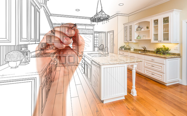 Hand Drawing Custom Kitchen Design With Gradation Revealing Phot Stock photo © feverpitch