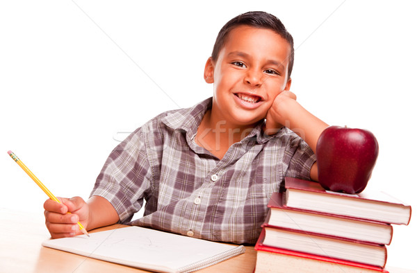 Adorable Hispanic Boy with Books, Apple, Pencil and Paper Stock photo © feverpitch