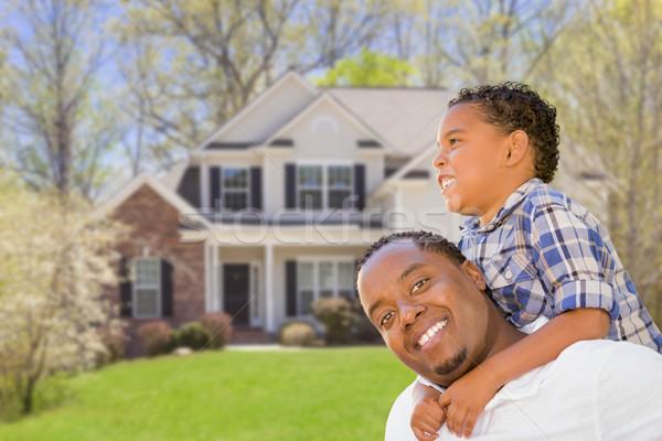 Halfbloed vader zoon huis gelukkig afro-amerikaanse Stockfoto © feverpitch