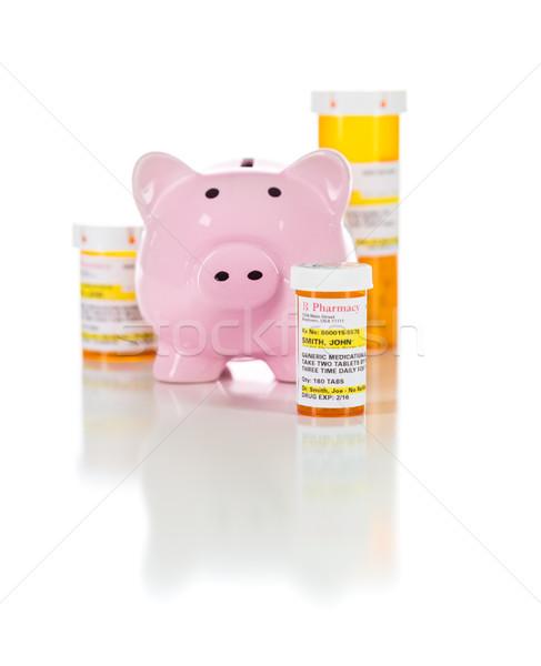 Piggy bank medicina prescrição garrafas iso isolado Foto stock © feverpitch