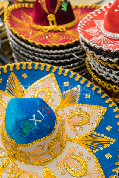 Variety of Sombreros On Sale By Local Mexico Vendors Stock photo © feverpitch