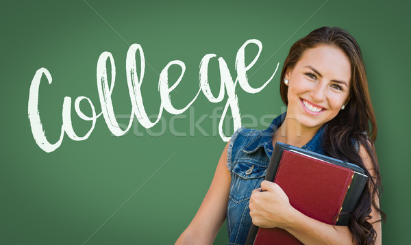 College Written On Chalk Board Behind Mixed Race Young Girl Stud Stock photo © feverpitch