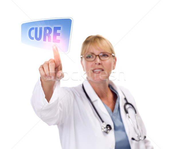 Female Doctor Touching Cure Button on Touch Screen Stock photo © feverpitch