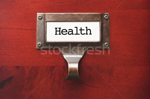 Lustrous Wooden Cabinet with Health File Label Stock photo © feverpitch