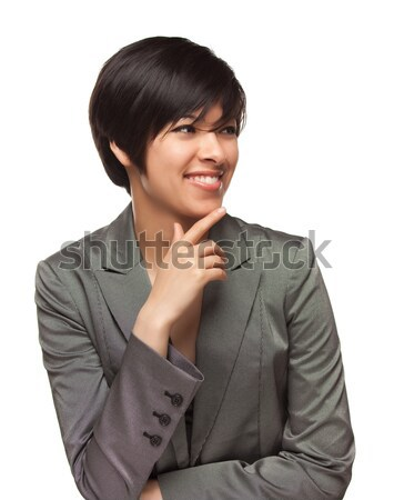 Pretty Thinking Mixed Race Young Adult with Eyes Up and Over Stock photo © feverpitch
