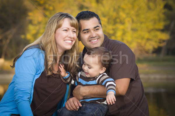 Happy Mixed Race Ethnic Family Playing In The Park Stock photo © feverpitch