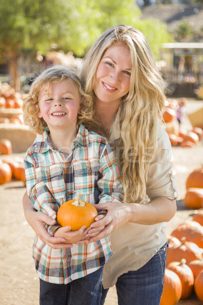 Attractive Mother and Son Portrait at the Pumpkin Patch Stock photo © feverpitch