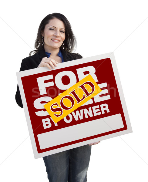 Hispanic Woman Holding Sold For Sale By Owner Sign Stock photo © feverpitch