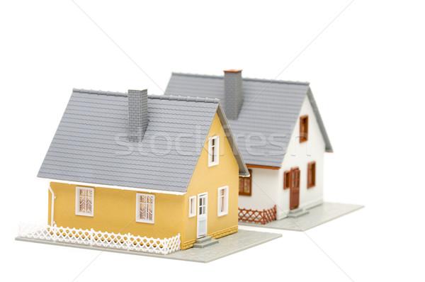 Stok fotoğraf: çift · evleri · küçük · evler · yalıtılmış · beyaz