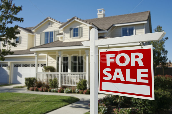 Ev satış imzalamak yeni ev gökyüzü Stok fotoğraf © feverpitch