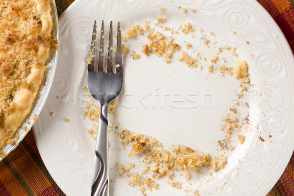 Overhead of Pie, Fork and Copy Spaced Crumbs on Plate Stock photo © feverpitch