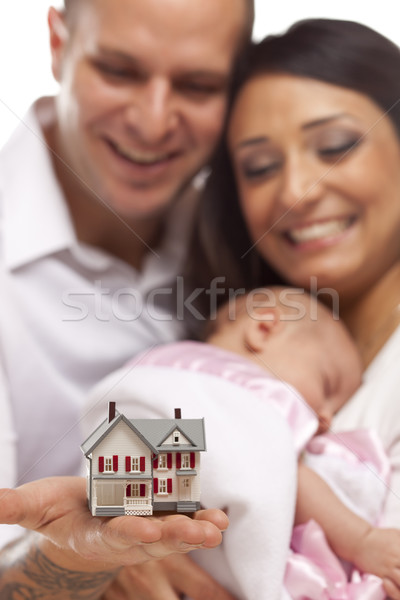 Mixed Race Family with Small Model House Stock photo © feverpitch