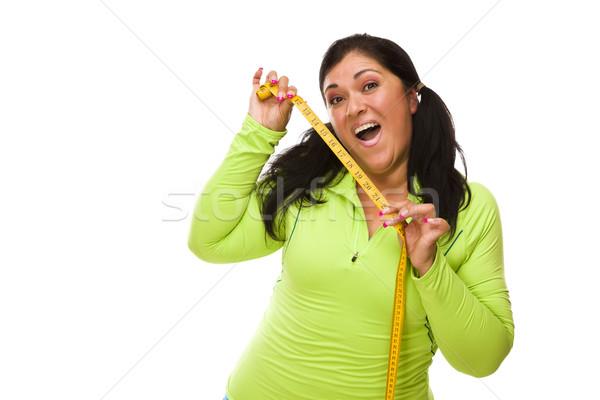 Ispanico donna allenamento vestiti nastro di misura attrattivo Foto d'archivio © feverpitch