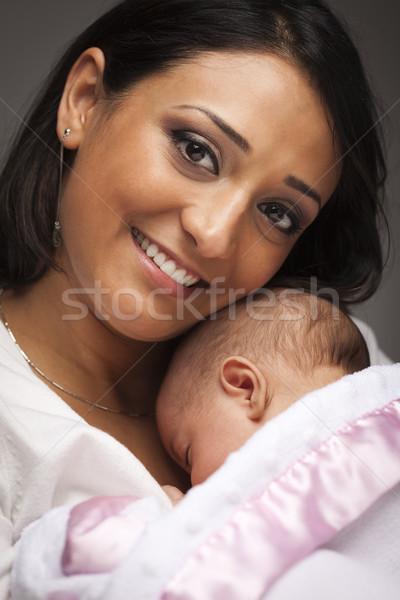 ストックフォト: 魅力的な · 民族 · 女性 · 赤ちゃん · 小さな
