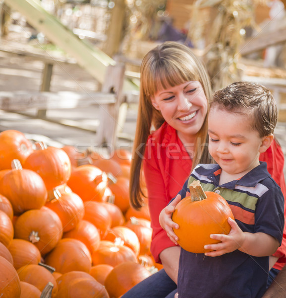 Happy Mixed Race Family at the Pumpkin Patch Stock photo © feverpitch