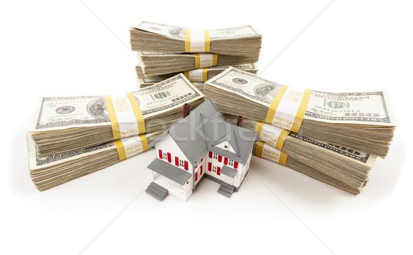 Stockfoto: Dollar · klein · huis · een · honderd
