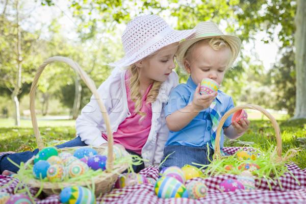 Cute jóvenes hermano hermana huevos de Pascua Foto stock © feverpitch